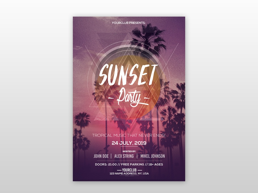 sunset party free psd flyer template by pixelsdesign net