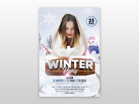 Winter Party PSD Free Flyer Template