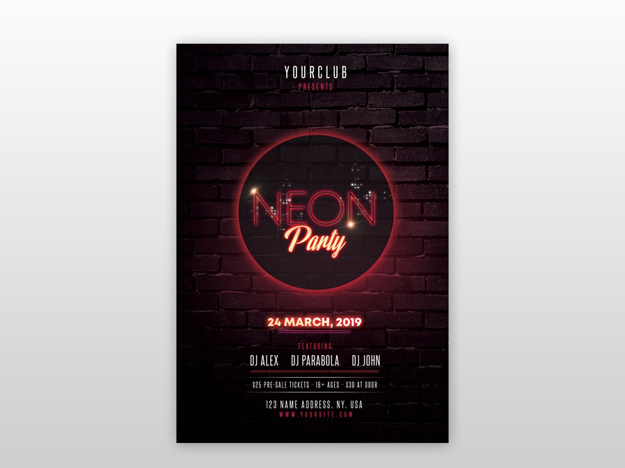 neon party free psd flyer template by pixelsdesign net dribbble