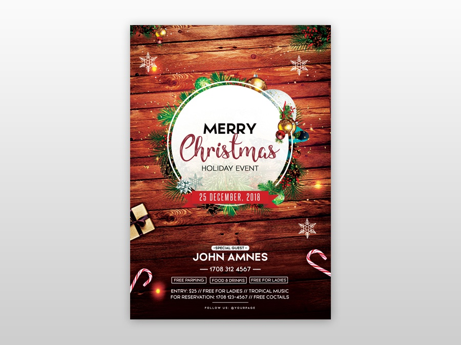 Merry Christmas Poster 2018.Merry Christmas 2018 Free Psd Flyer Template By Pixelsdesign
