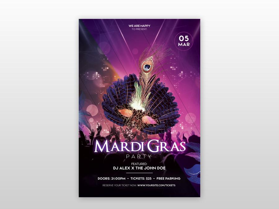 Mardi Gras Flyer Template from cdn.dribbble.com