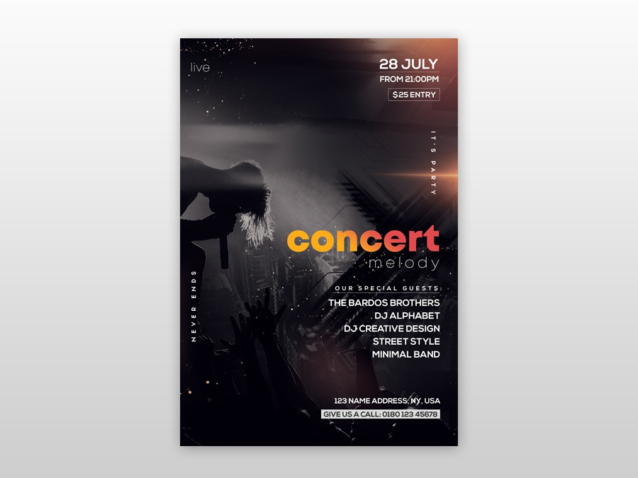 free concert melody psd flyer template by pixelsdesign net