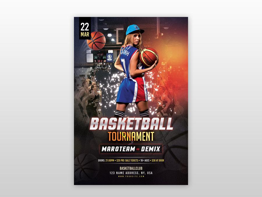 basketball tournament free psd flyer template by pixelsdesign net