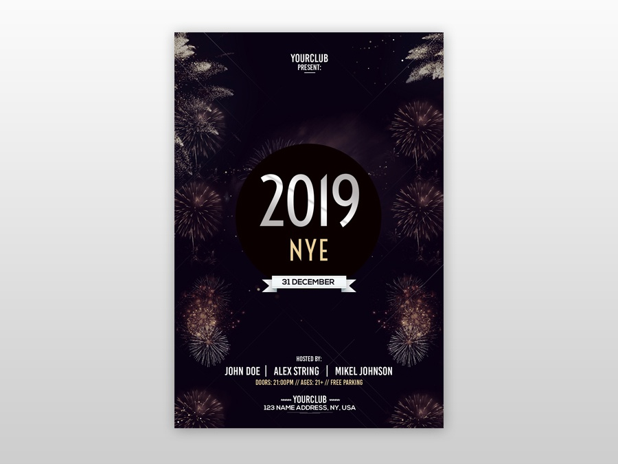 2019 NYE Free PSD Flyer Template New Year Flyers Nye
