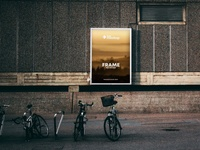 Poster Frame in Street with Bikes Free Mockup