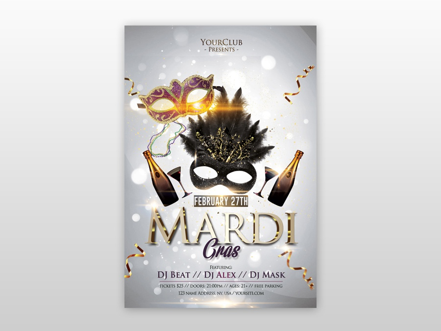 Mardi Gras Carnival Free Psd Flyer Template Gold White Club Templates