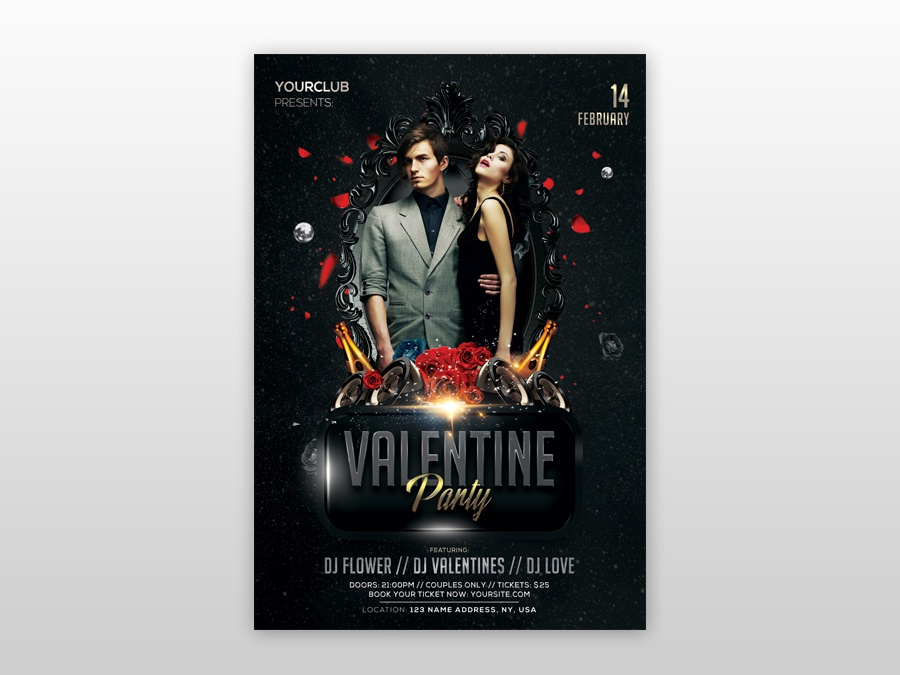 Valentine S Party Psd Free Flyer Template By Pixelsdesign Net
