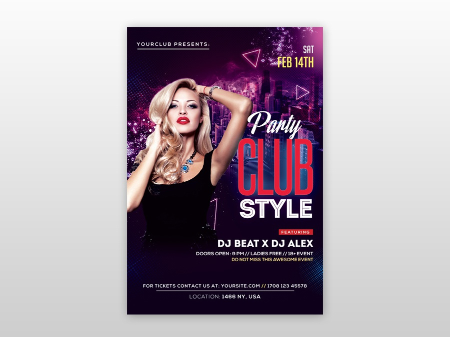 Psd Club Flyer Template   Club Style Free Psd Flyer Template By Pixelsdesign Net Dribbble