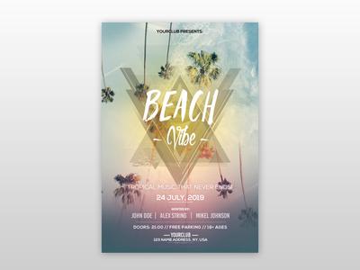 Beach Vibe Freebie PSD Flyer Template