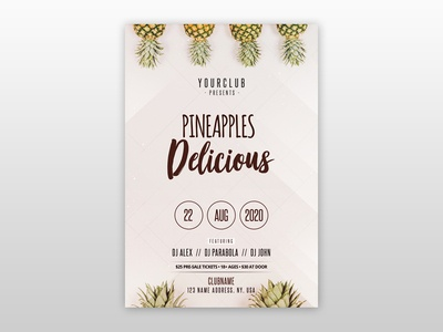 Pineapples – Free Minimal PSD Flyer Template