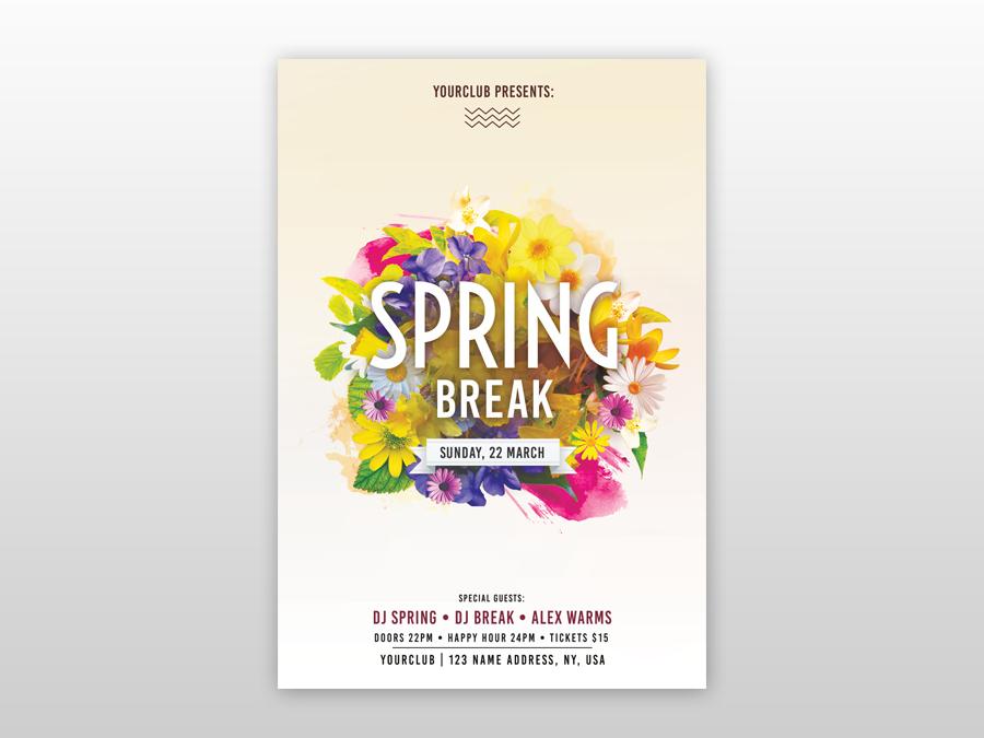 Spring Break PSD Free Flyer Template music flyer free psd flyer freebie psd poster design creative flyer clean free flyer psd flyer floral spring