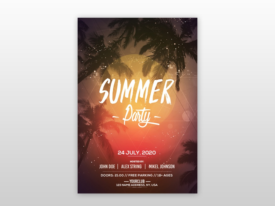 Summer Party Free PSD Flyer Template (Vol.2) free psd flyer party club beach flyer summer flyer psd flyer poster flyer