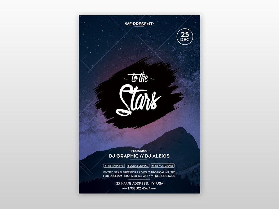 To the Stars PSD Free Flyer Template freebie psd poster design flyer template club flyer event flyer psd flyer poster flyer