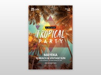 Vintage Tropical Party PSD Free Flyer Template