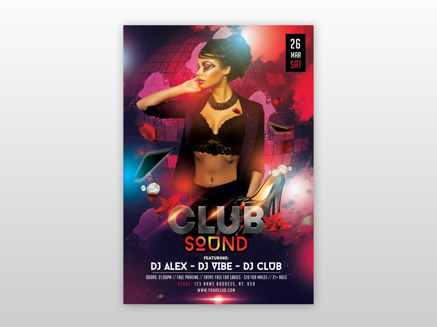 The Club Sound Free PSD Flyer Template by Pixelsdesign net