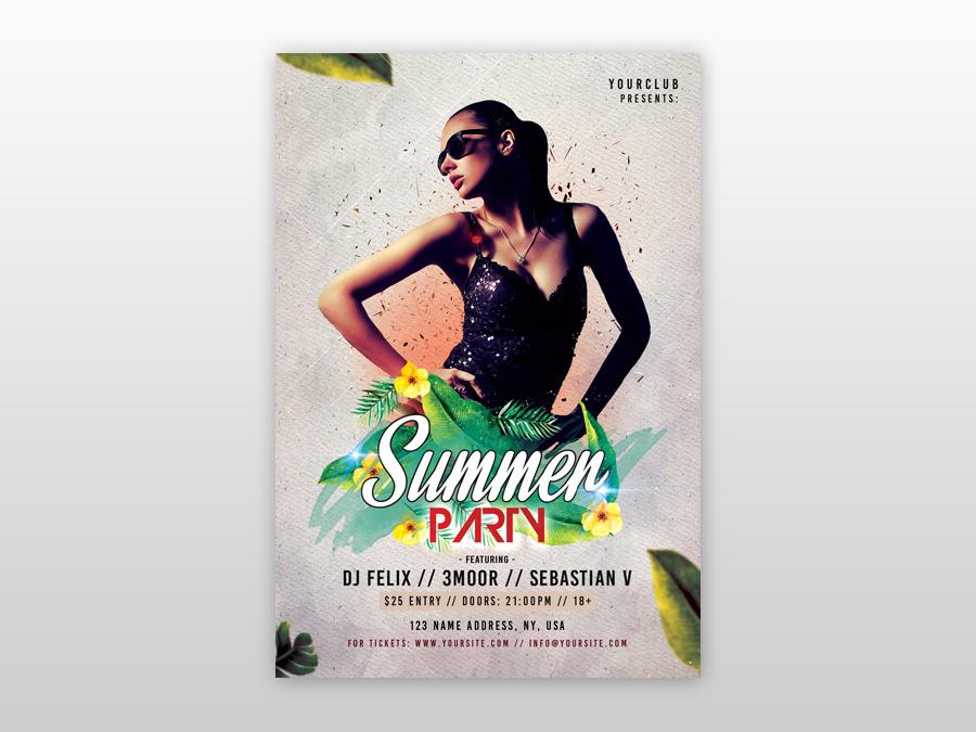 Summer Event PSD Free Flyer Template freebie psd poster design flyer design club summer flyer psd flyer poster flyer