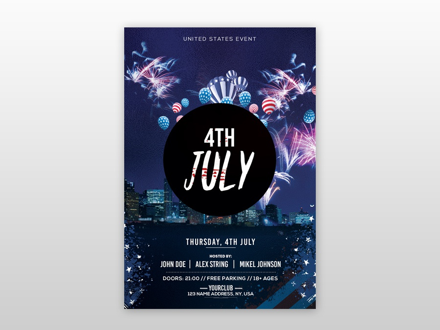 4th July PSD Free Flyer Template event flyer design free 4th july flyers 4th july flyer 4th july free flyer psdflyer poster flyer