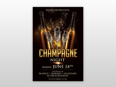 Champagne Night – Free Luxury PSD Flyer Template