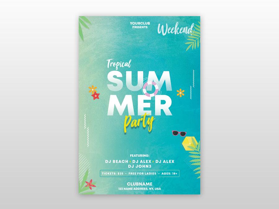 Summer & Tropical Free PSD Flyer Template poster design flyer design summer party flyer free psd flyers beach flyer tropical free flyer psdflyer poster flyer