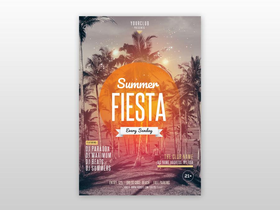 Summer Fiesta Free PSD Flyer Template freebie psd free psd flyer poster design flyer design summer flyers tropical beach flyer club free flyer psd flyer poster flyer
