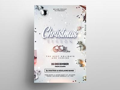 Christmas Season PSD Flyer Template invitation holiday flyer christmas flyers elegant chritsmas psd flyer psd flyer design poster flyer
