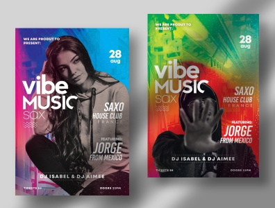 Vibe Music Sax – PSD Flyer Template template flyer design posters psd flyer psd poster flyer music