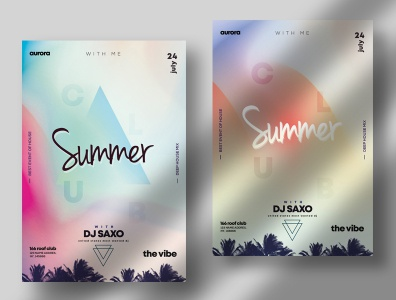 Summer Vivid PSD Flyer Template gradients summer flyer summer template graphic photoshop psd poster art poster design flyer design poster flyer
