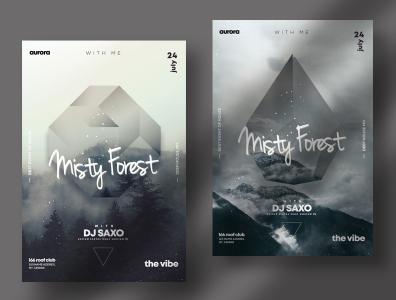 Misty Fog – Geometric Events PSD Flyers poster design psd flyers geometric fog event flyer design poster flyer