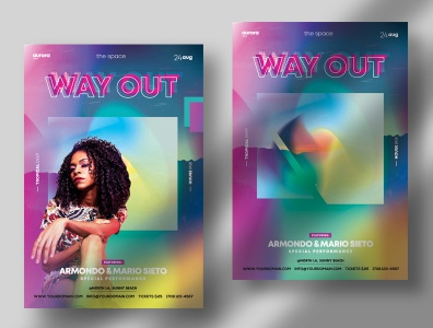 Way Out – Colorful PSD Flyers Templates abstract template psd flyers colorful colors psd flyer psd poster flyer flyers