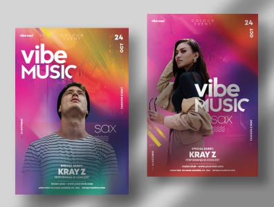 Vibe Event ~ Colorful PSD Flyer Templates graphics template artist flyer psd flyers flyer design poster design psd flyer psd poster flyer