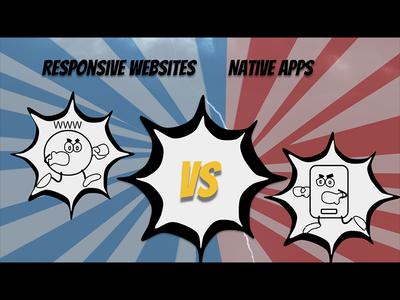 Cartoon story Responsive websites vs Native Apps