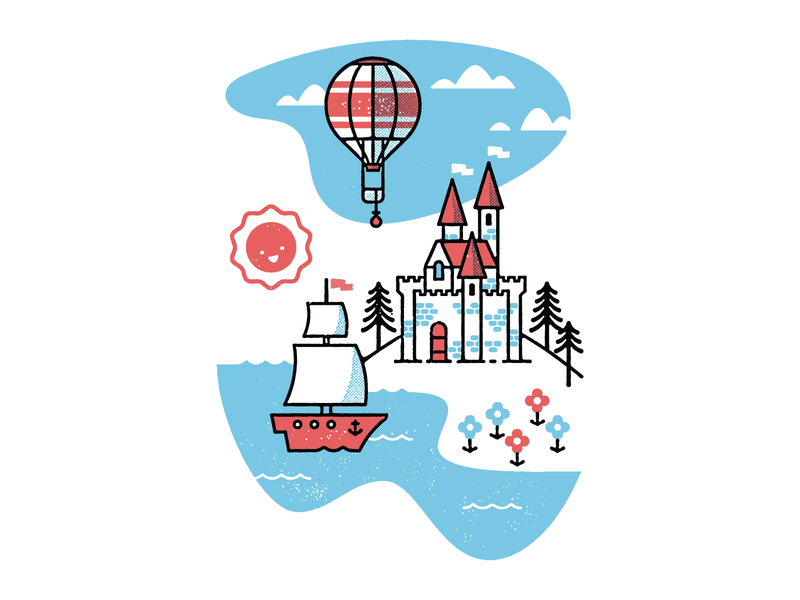 Untitled storybook balloon adventure ship castles illustration