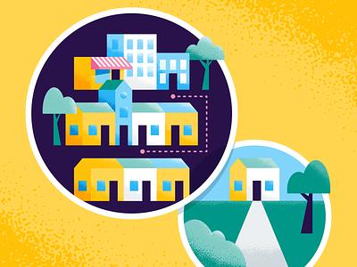 Short Commute vs Big Yard real estate house homes city infographic illustration