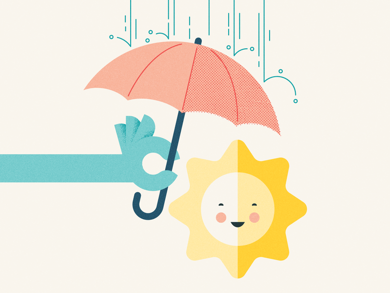 Hang in there everyone... smile cheer illustration rain umbrella sun