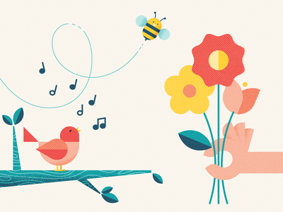 Spread some cheer flowers spring happy illustration