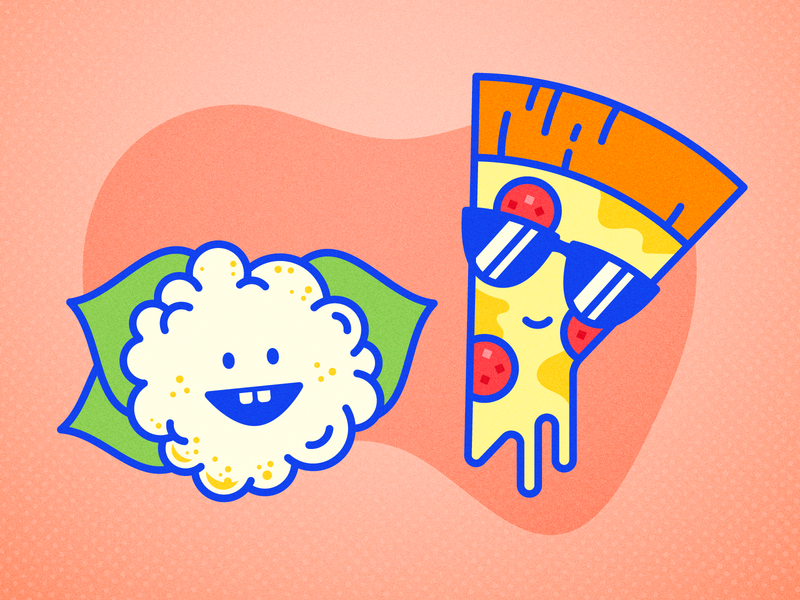 Cauliflower, meet Pizza... icon illustration cartoon character pizza