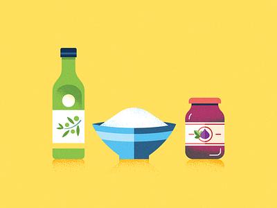 Food Stuffs kitchen sugar bowl jam olive oil illustrations icon food