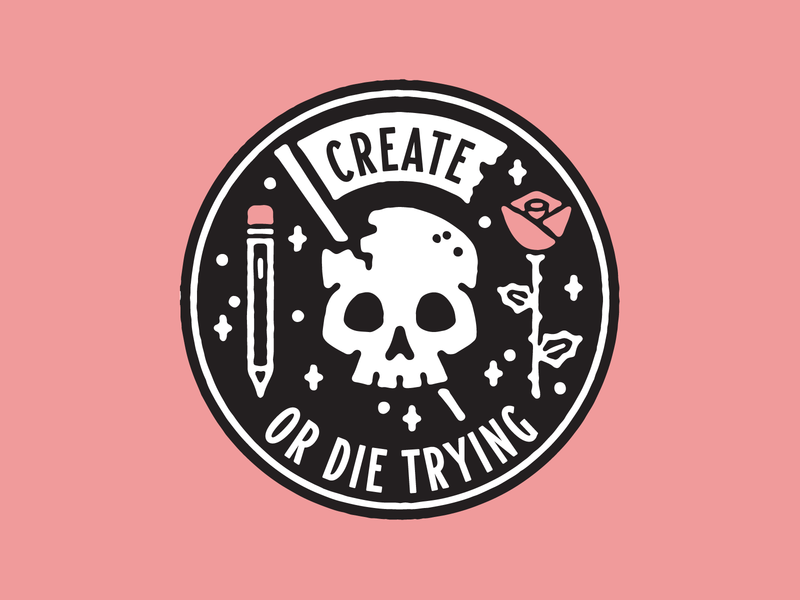 Create Or Die 2 sticker rose lockup crest badge skull
