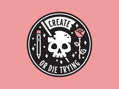 Create Or Die 2 sticker rose lockup crest badge skull