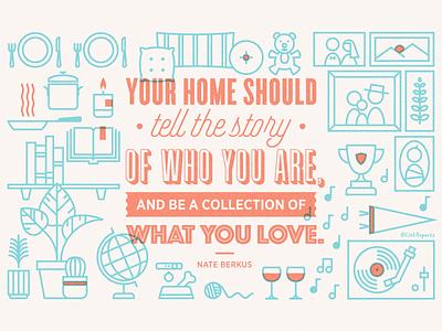 Quote illustration home icons illustration