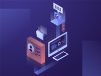 Automated Something or Other illustrator tech profile isometric illustration
