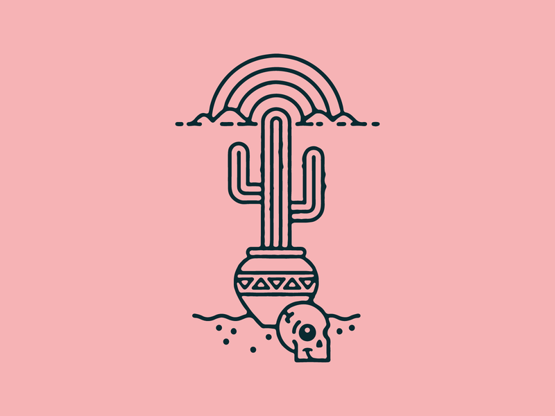 cactus skull rainbow desert cactus illustration badge