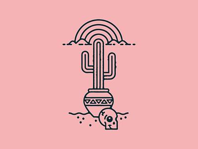 cactus skull rainbow desert cactus illustration badge