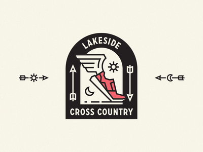 Lakeside Cross Country logo sports wing shoe running lockup badge