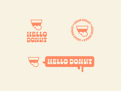 Hello Donut 1 cheee speech bubble illustration mouth cafe doughnut donut logo branding