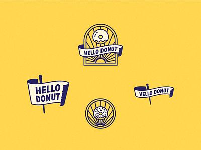 Hello Donut 2 restaurant doughnuts donut branding enclosure lockup logo badge