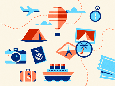 travel doodles icons travel