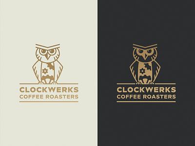Clockwerks orange gear cog coffee banding bird logo owl