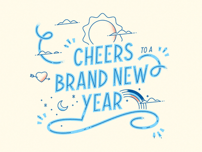 New Year illustration line art lettering typography type 2021 new year