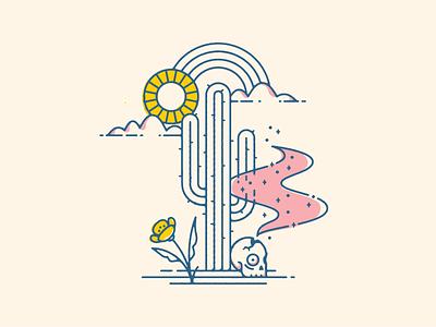 Desert Vibes monoline illustration rainbow cactus shull desert